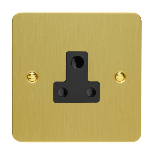 Varilight XFBRP5AB Ultraflat Brushed Brass 1 Gang 5A Round Pin Plug Socket